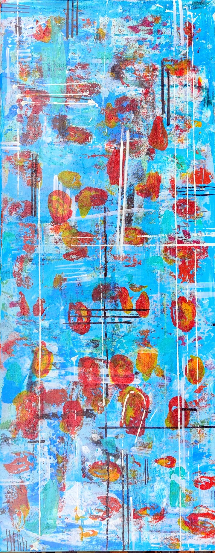1395 Fields of Flowers Red 1000x400mm acrylic 350gbp