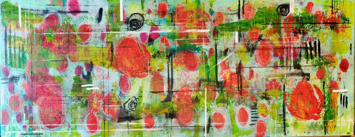 1397 Fields of Flowers Red and Green 400x1000mm acrylic 350gbp