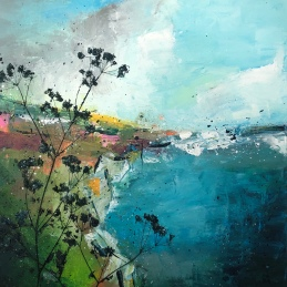 By the sea by Anna Clarke 50x50cm mixed media on canvas (002)